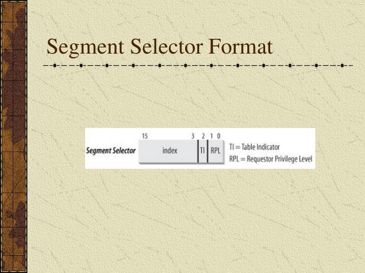 Segment Selector Format