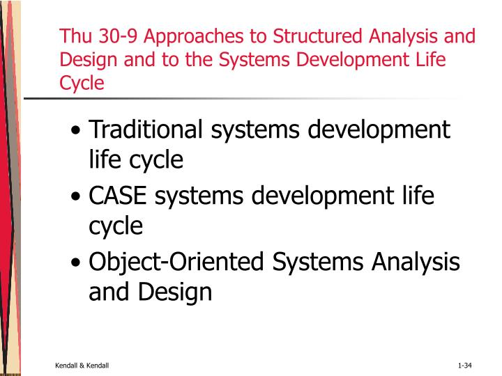 Thu 30-9 Approaches to Structured Analysis and Design and to the Systems Development Life Cycle