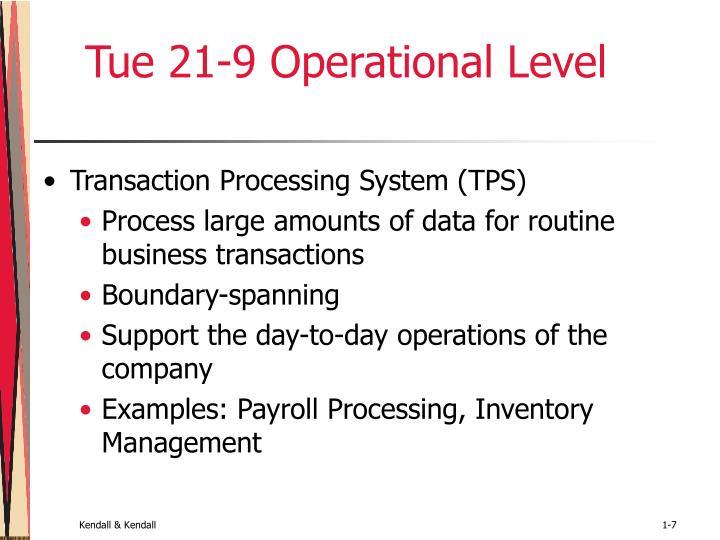 Tue 21-9 Operational Level