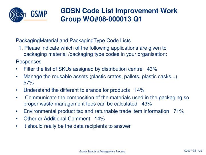 GDSN Code List Improvement Work Group WO#08-000013 Q1