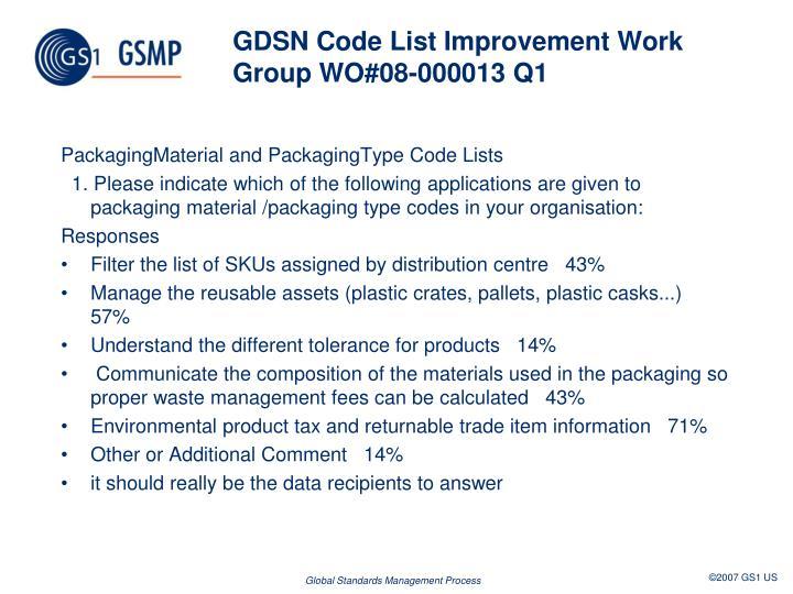 GDSN Code List Improvement Work GroupWO#08-000013 Q1