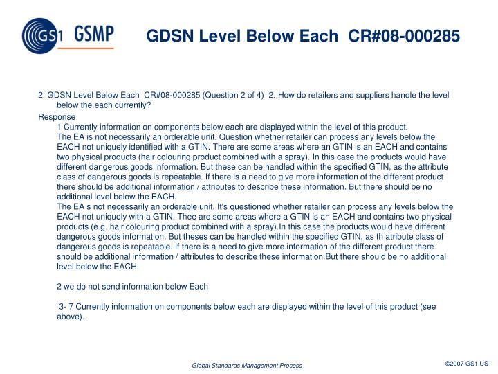 GDSN Level Below Each  CR#08-000285
