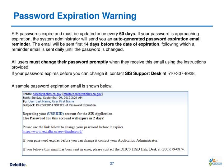 Password Expiration Warning