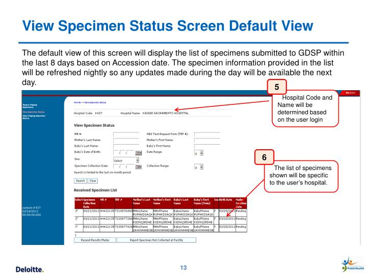 View Specimen Status Screen Default View