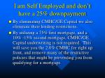 i am self employed and don t have a 25 downpayment1