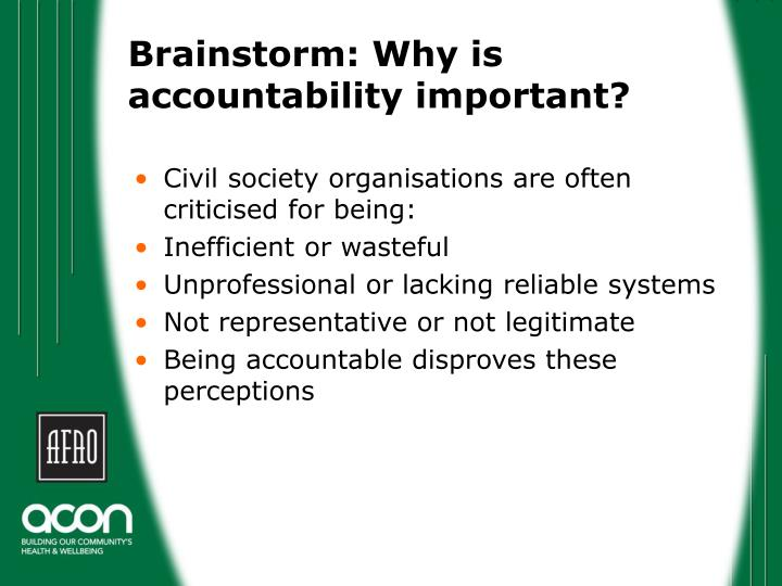 why accountability formation is important The importance of accountability and  waking up with enough time to prepare for your first formation,  there many reasons why accountability is an important.