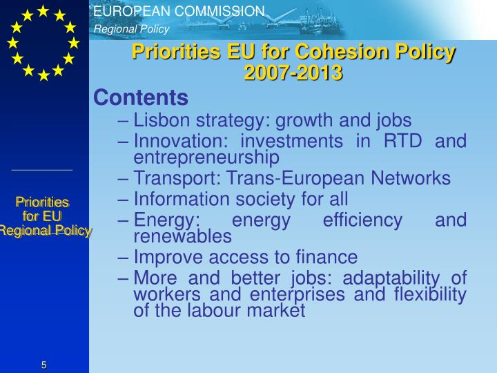 Priorities EU for Cohesion Policy