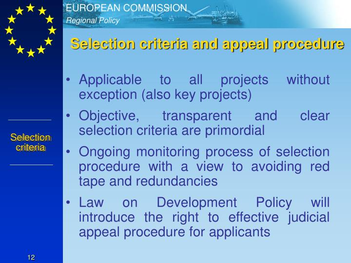 Selection criteria and appeal procedure