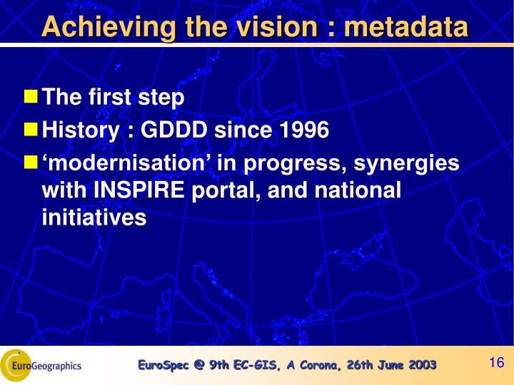 Achieving the vision : metadata