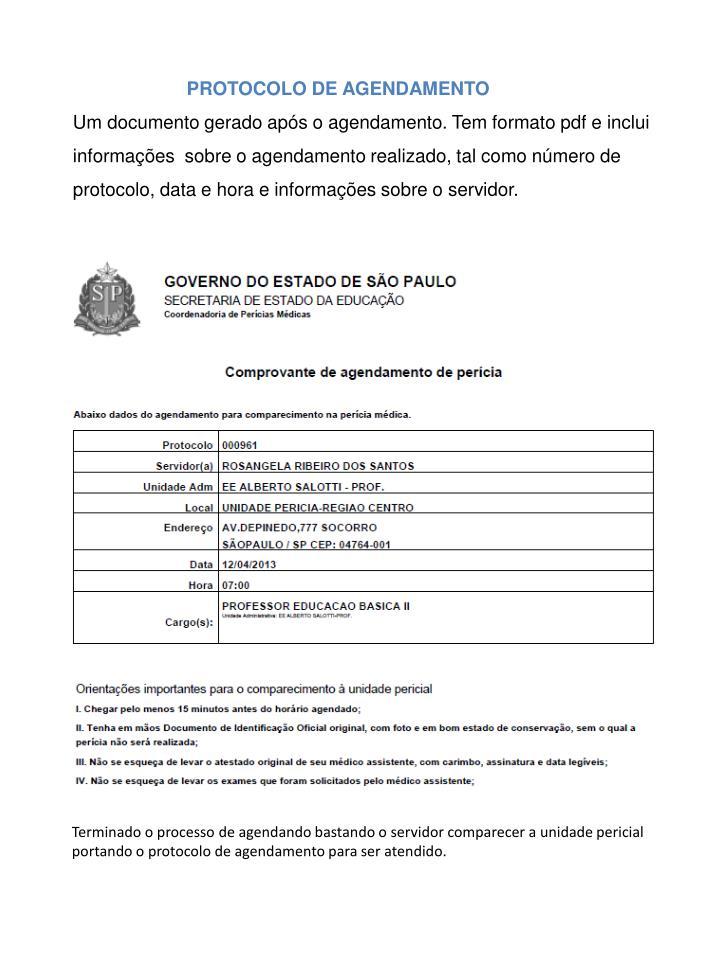 PROTOCOLO DE AGENDAMENTO