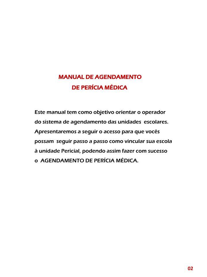 MANUAL DE AGENDAMENTO