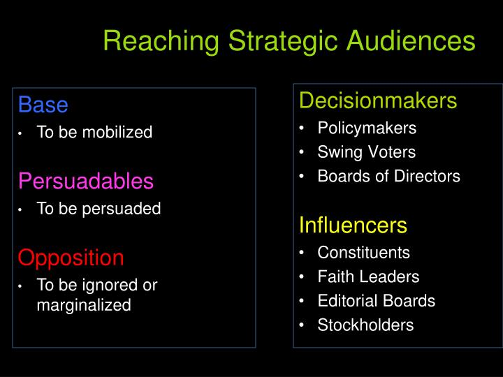 Reaching Strategic Audiences