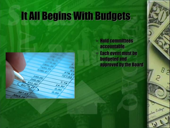 It All Begins With Budgets