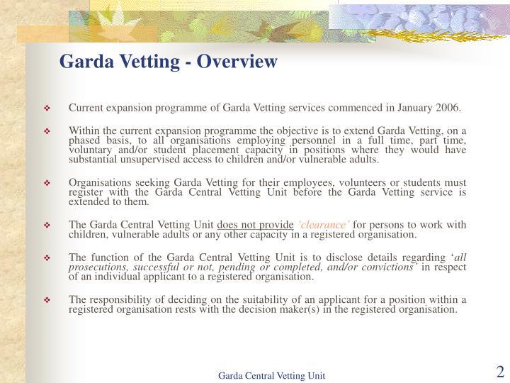 Garda Vetting - Overview