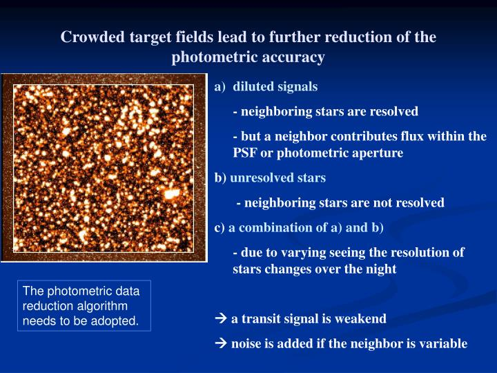 Crowded target fields lead to further reduction of the photometric accuracy