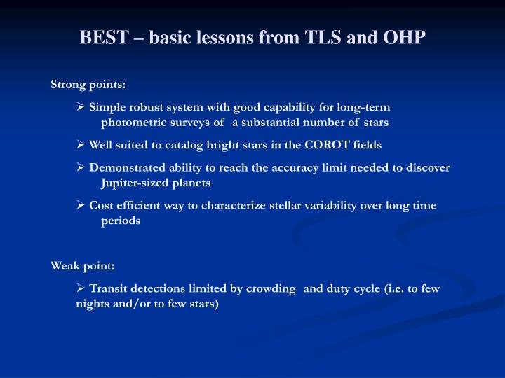 BEST – basic lessons from TLS and OHP