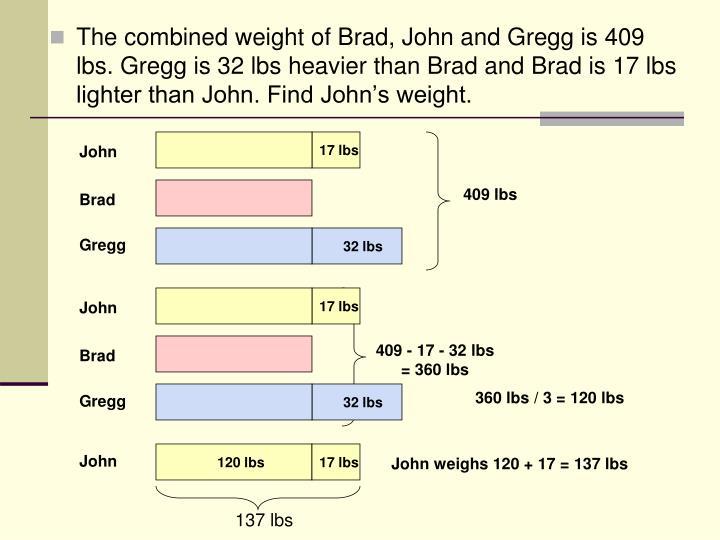 409 - 17 - 32 lbs = 360 lbs