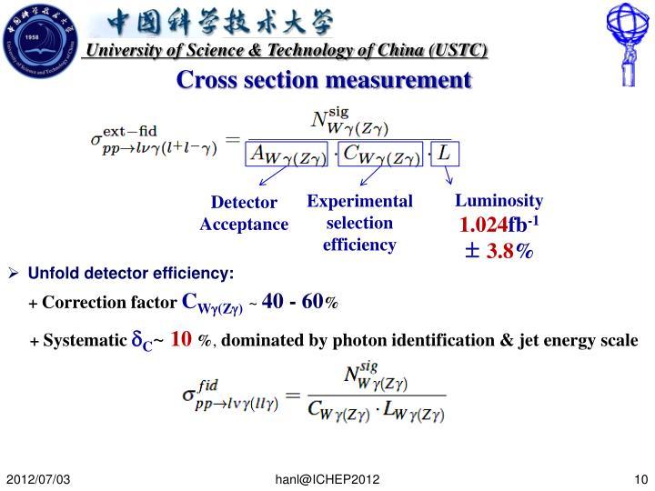 Cross section measurement