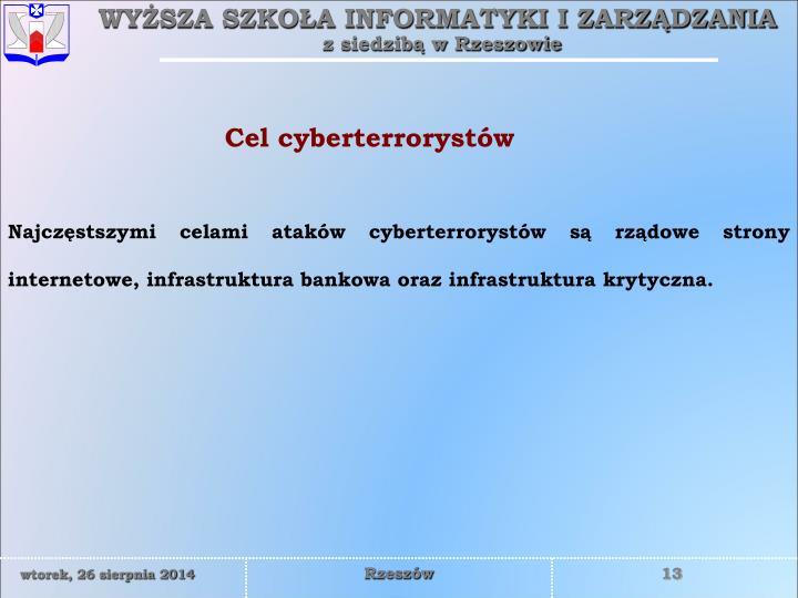 Cel cyberterrorystów