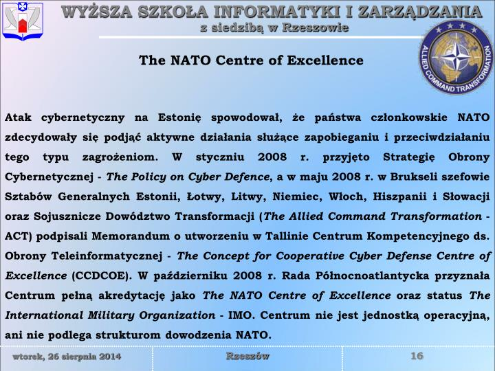The NATO Centre of Excellence