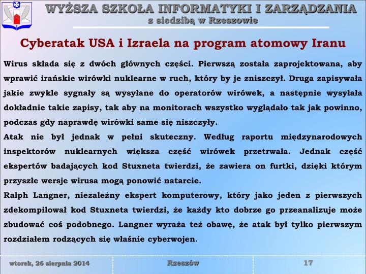 Cyberatak USA i Izraela na program atomowy Iranu