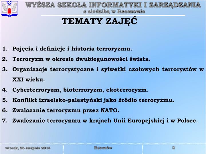 TEMATY ZAJĘĆ