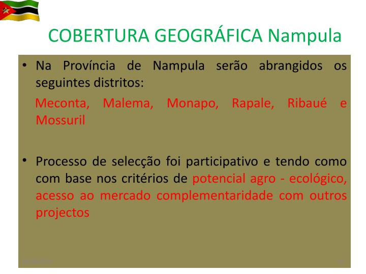 COBERTURA GEOGRÁFICA Nampula