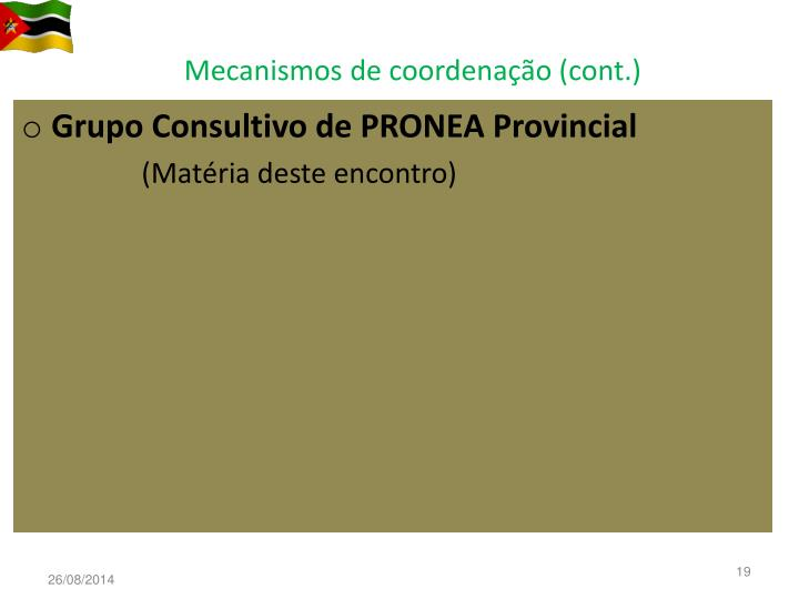 Mecanismos de coordenação (cont.)