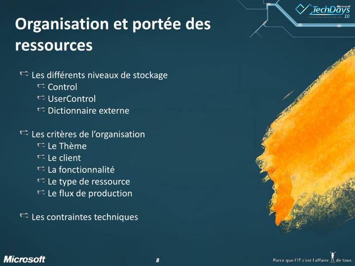 Organisation et portée des ressources
