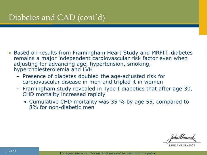 Diabetes and CAD (cont'd)