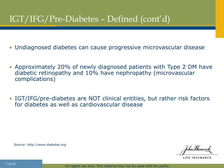 IGT/IFG/Pre-Diabetes – Defined (cont'd)