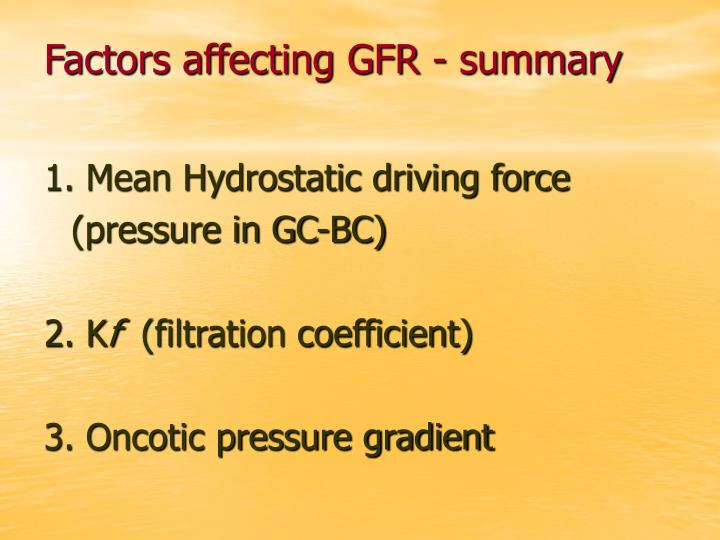 Factors affecting GFR - summary