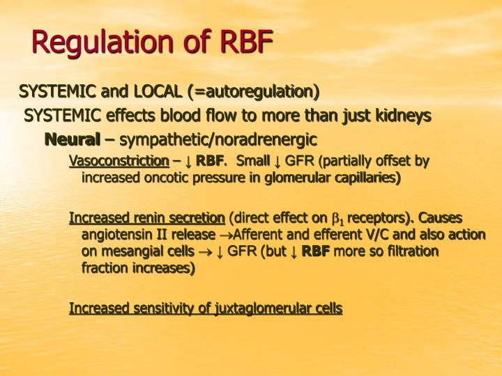 Regulation of RBF