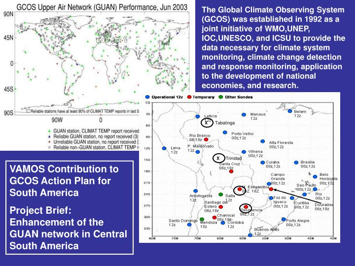 The Global Climate Observing System (GCOS) was established in 1992 as a joint initiative of WMO,UNEP, IOC,UNESCO, and ICSU to provide the data necessary for climate system monitoring, climate change detection and response monitoring, application to the development of national economies, and research.