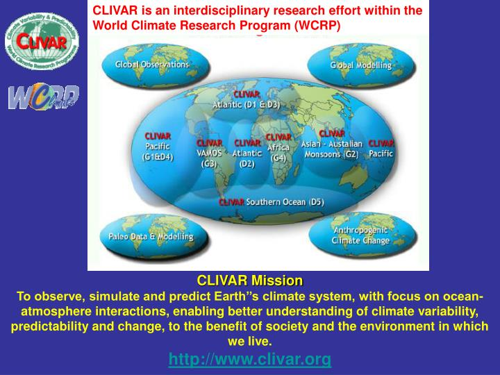 CLIVAR is an interdisciplinary research effort within the World Climate Research Program (WCRP)
