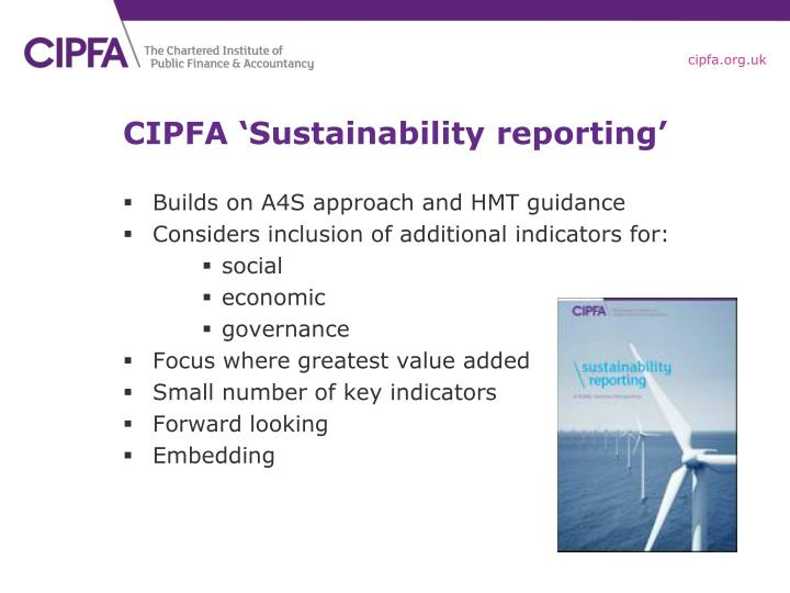 CIPFA 'Sustainability reporting'