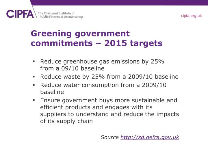 Greening government commitments – 2015 targets