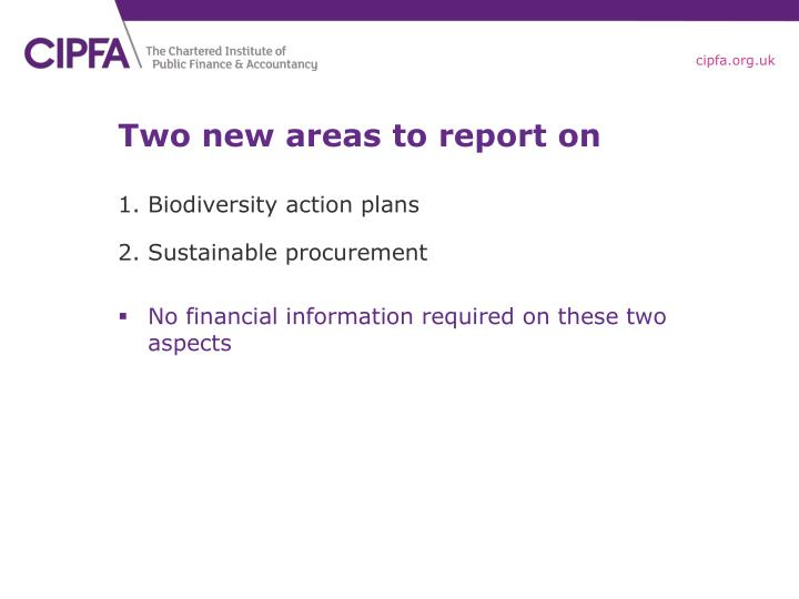 Two new areas to report on