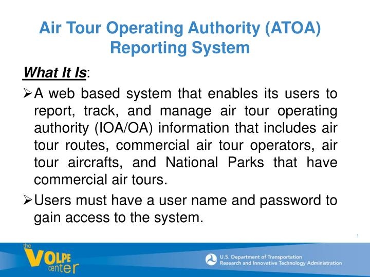 Air tour operating authority atoa reporting system