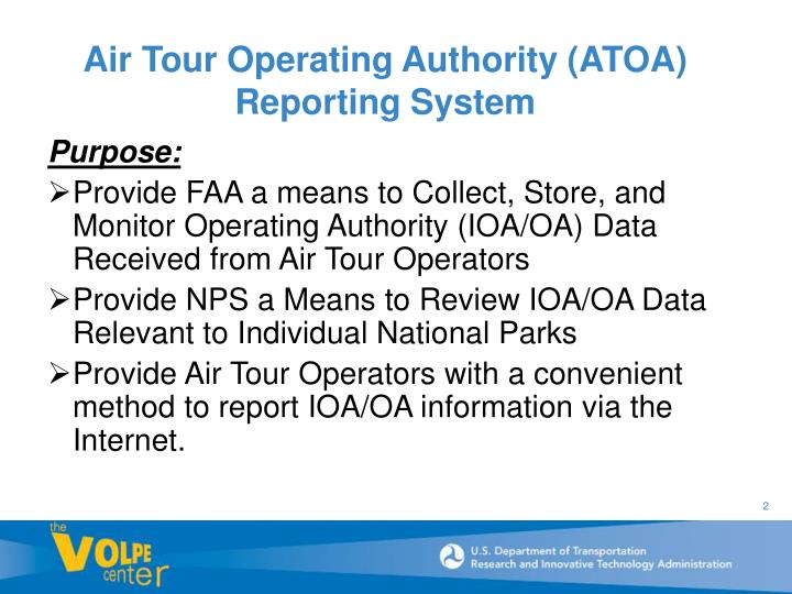 Air Tour Operating Authority (ATOA) Reporting System
