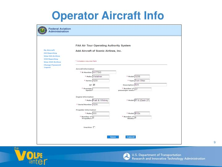 Operator Aircraft Info