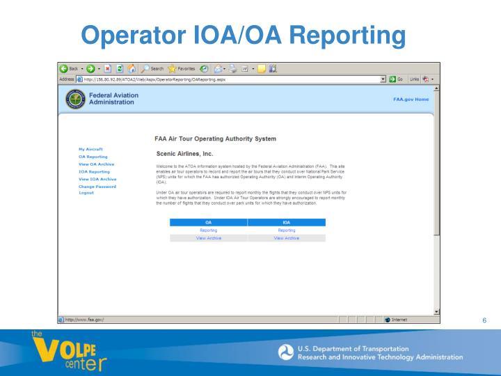 Operator IOA/OA Reporting