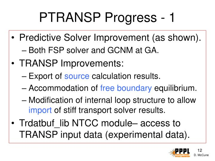PTRANSP Progress - 1