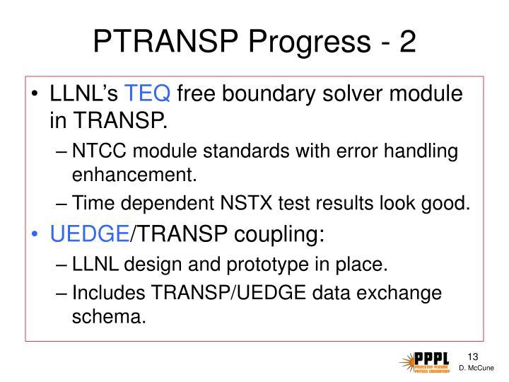 PTRANSP Progress - 2