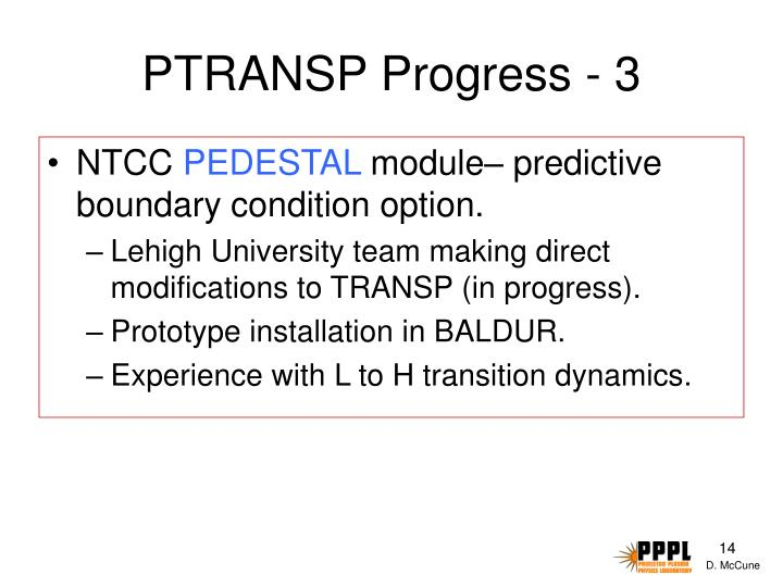 PTRANSP Progress - 3