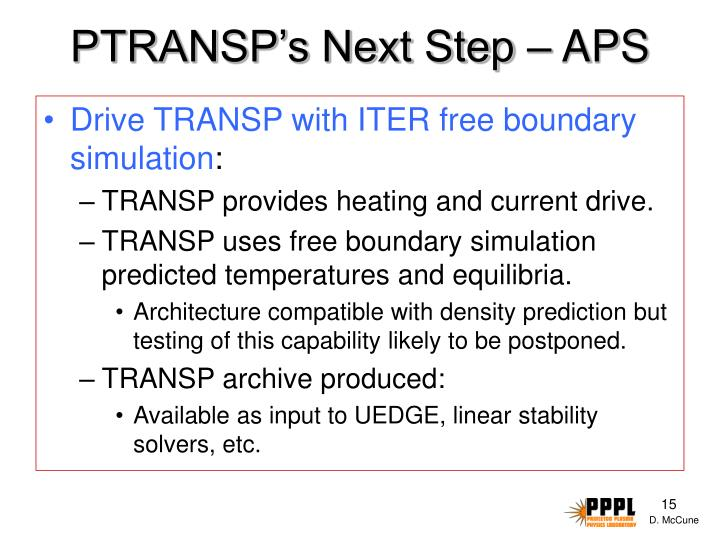 PTRANSP's Next Step – APS