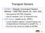 transport solvers