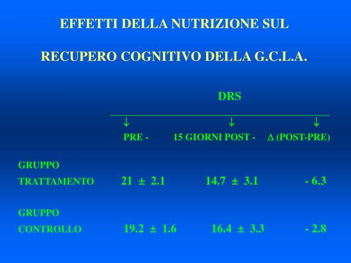 EFFETTI DELLA NUTRIZIONE SUL