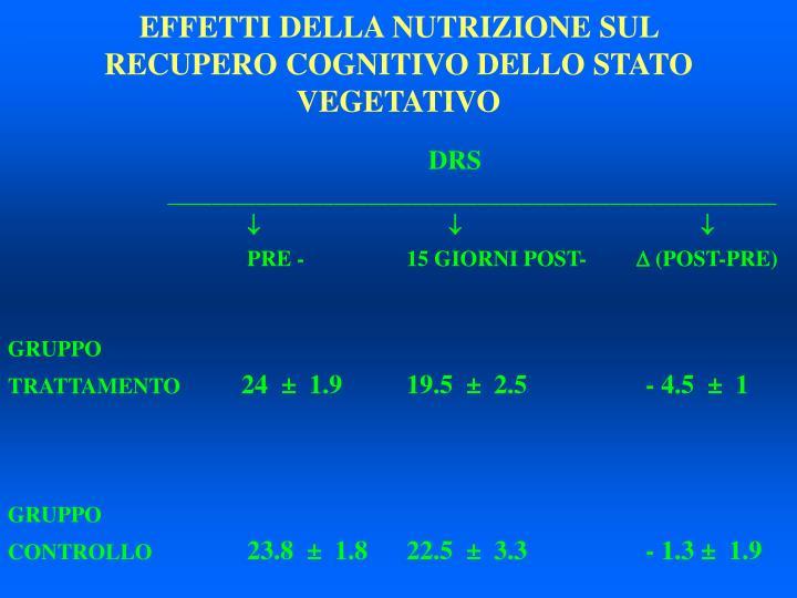 EFFETTI DELLA NUTRIZIONE SUL RECUPERO COGNITIVO DELLO STATO VEGETATIVO