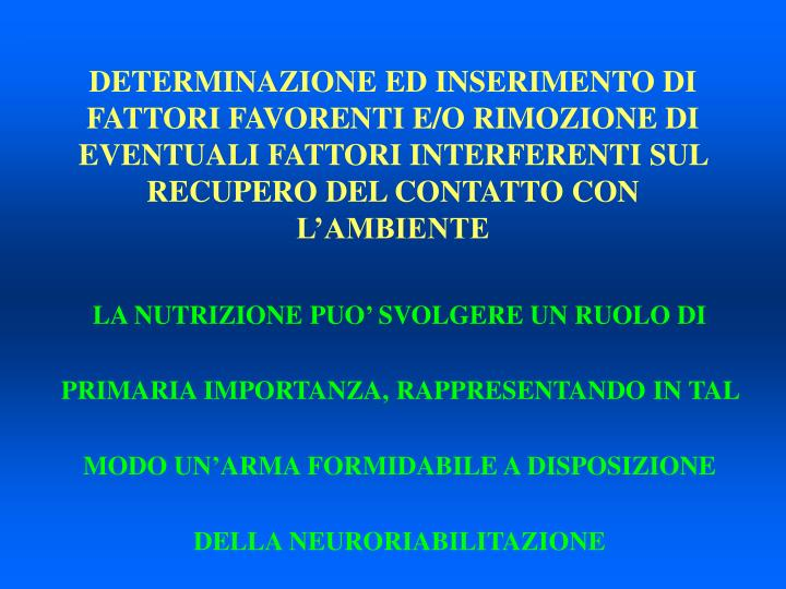 DETERMINAZIONE ED INSERIMENTO DI